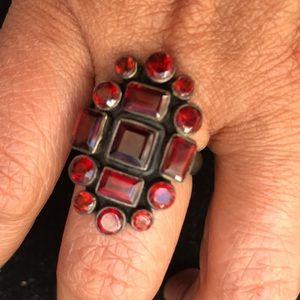 Semi precious red stones ring